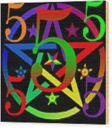 Penta Pentacle In Black Wood Print