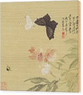 Peonies And Butterflies Wood Print