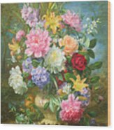 Peonies And Mixed Flowers Wood Print