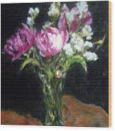 Peonies In A Glass Vase Wood Print