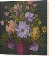 Peonies In A Red Vase Wood Print
