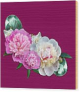 Peonies In Pink And Blue Wood Print