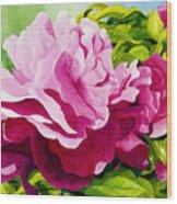 Peonies In Pink Wood Print