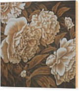 Peonies In Sepia Wood Print by Karen Coombes