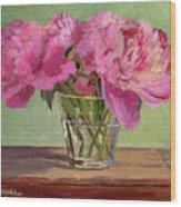Peonies In Tumbler Wood Print