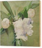 Peonies On Green Wood Print