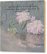 Peonies With Psalm 91.2 Wood Print