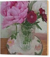 Peonies With Sweet Williams Wood Print