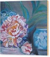 Peony And Chinese Vase Wood Print
