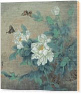 Peony Butterfly Wood Print