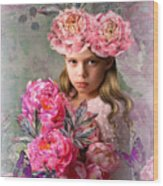 Peony Flower Child Wood Print