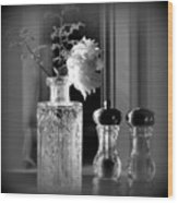 Peony In A Crystal Vase On The Dining Table Wood Print