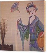 Peony The Geisha Wood Print