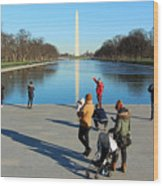 People At The Reflecting Pool Wood Print
