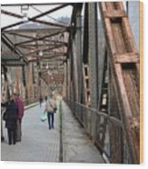 People Crossing Old Yugoslav Weathered Metal Bridge Crossing In Bosnia Hercegovina Wood Print