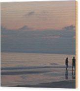 People Enjoy A Walk On The Beach Wood Print