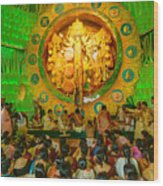 People Enjoying Inside Durga Puja Pandal Durga Puja Festival Wood Print