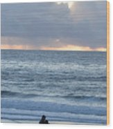 People Gather At Carmel Beach Wood Print