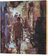 People In Alley Wood Print