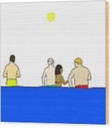 People In Pool Wood Print