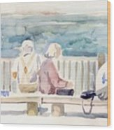 People On Benches Wood Print