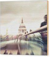 People On Millennium Bridge In London Wood Print