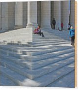 People On Steps With Columns Wood Print