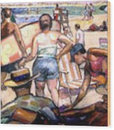People On The Beach Wood Print by Stan Esson