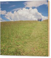 People On The Hill Painterly Wood Print