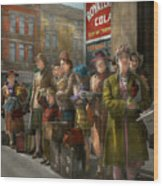 People - People Waiting For The Bus - 1943 Wood Print