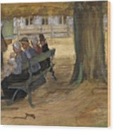 People Sitting On A Bench In Bezuidenhout. The Hague Wood Print