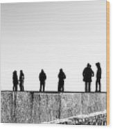 People Standing In Groups Abstract Monchrome Wood Print