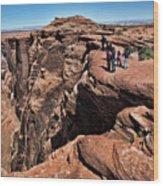 People View Horseshoe Bend Rock Edge  Wood Print