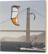 People Wind Surfing And Kitebording Wood Print by Skip Brown