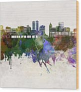Peoria Skyline In Watercolor Background Wood Print