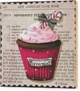 Peppermint Stick Christmas Cupcake Wood Print