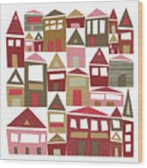Peppermint Village Wood Print