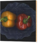 Peppers And Blue Bowl Wood Print