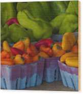 Peppers At The Produce Market Wood Print
