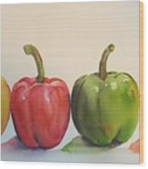 Peppers four Wood Print