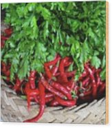 Peppers In A Basket Wood Print