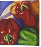 Peppers In The Round Wood Print