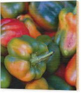 Peppers Of Many Colors Wood Print