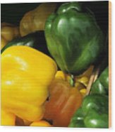 Peppers Yellow And Green Wood Print