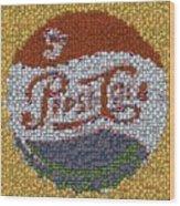 Pepsi Bottle Cap Mosaic Wood Print