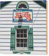 Pepsi Window At Ambler's Texaco Gas Station Wood Print