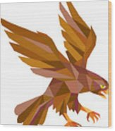 Peregrine Falcon Swooping Low Polygon Wood Print