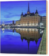 Perfect Riddarholmen Blue Hour Reflection Wood Print