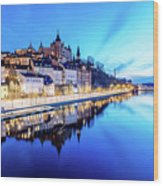 Perfect Sodermalm And Mariaberget Blue Hour Reflection Wood Print