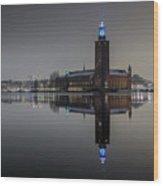 Perfect Stockholm City Hall Night Reflection Wood Print